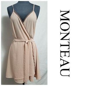 Monteau Peach Faux Wrap Dress Size Large